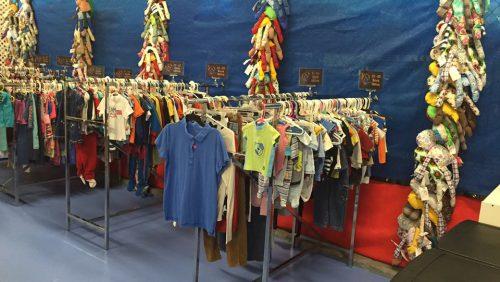 Childrens clothing on racks